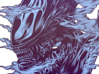 Run. Hide. Survive. alien xenomorph linework drawing illustration sketch traditional artwork art
