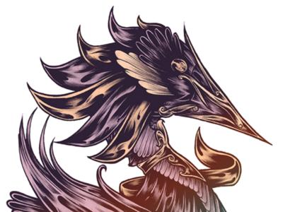 Gold design linework traditional ornate bird gold drawing artwork illustration art