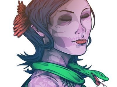 San La Muerte brush drawing girl skull snake colour digital sketch artwork illustration art