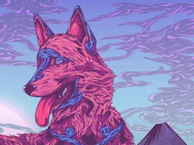 Canine animal landscape sketch artwork colour ornate dog digital drawing illustration art