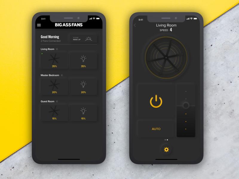 Neumorphic Controls black and yellow smarthome fan industrial dark theme dark mode dark ui mobile design mobile ui neumorphism neumorphic
