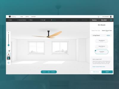 Select Room Size b2c ecobee nest webdesign desktop smarthome fan ceilingfan