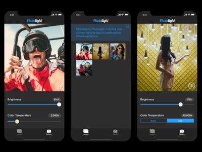 Photo Lighting App Concept - Dark UI