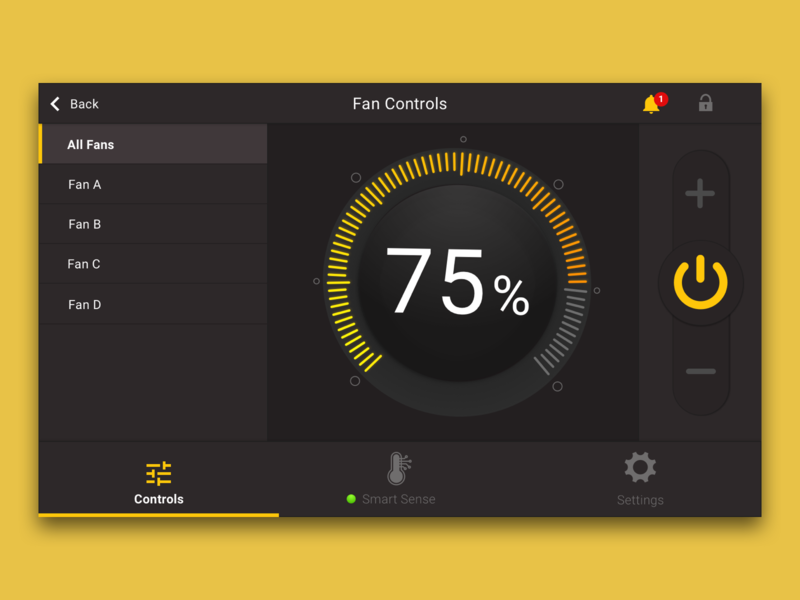 Throwback Controls concept controllers controller ui design black and yellow industrial ceilingfan smarthome fan