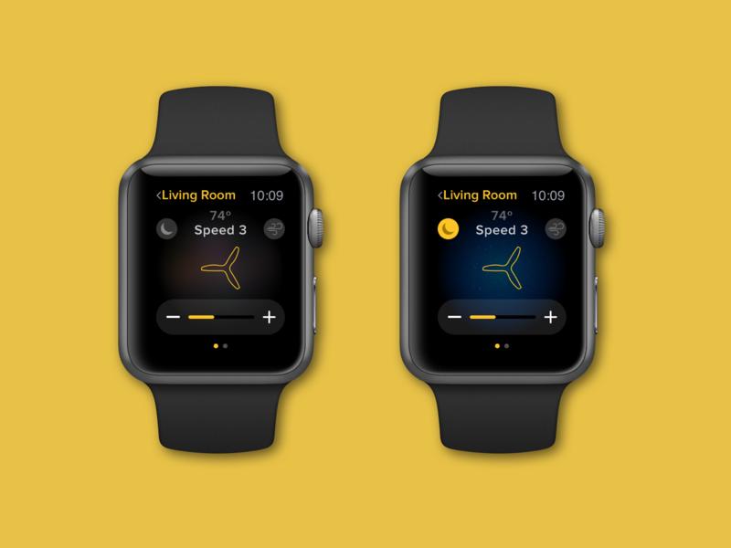 Watch App Concept Round 2 ux ui design smart watch apple watch design apple watch watchapp ui design black and yellow ceilingfan nest fan smarthome