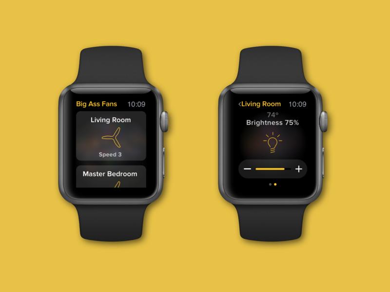 More Watch App watch apple watch design apple watch smart watch ui design illustration black and yellow ceilingfan smarthome fan