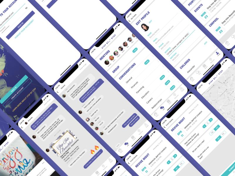 SBS App visual design events chat home edit profile social app social duotone purple ux  ui mobile app non-profit non profit