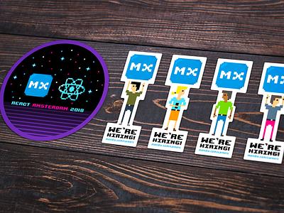 React Amsterdam Stickers 80s retro hiring pixelart pixel mendix stickers react