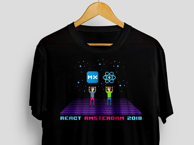 React Amsterdam T-shirt 80s retro pixelart pixel mendix t-shirt react