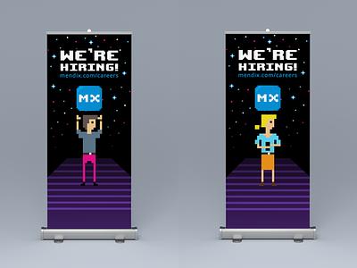React Amsterdam Rollup Banners 80s retro hiring pixelart pixel mendix react