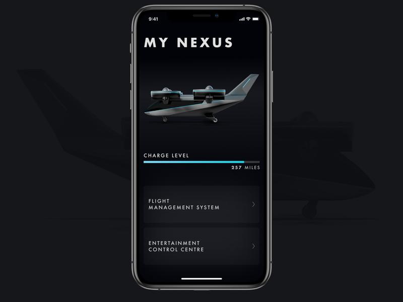 Bell Nexus App exploration dark theme dark mode dark ui dark maintenance flight app flight airplane aircraft design app ui minimal ios