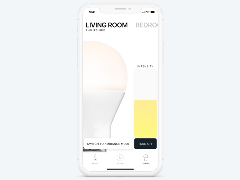 Smart Home : Light Control Exploration minimal maxime frere light smart city ios app iot smart home smart app ui ios mobile