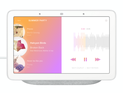 Music Player Concept for Nest Hub Max google nest ui music player player music