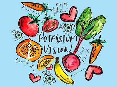 Potassium Vision fitness health illustration typography