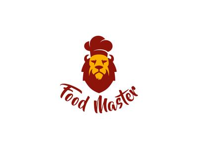 Food Master logo design food delivery branding cook lion food leotroyanski flat design vector logo