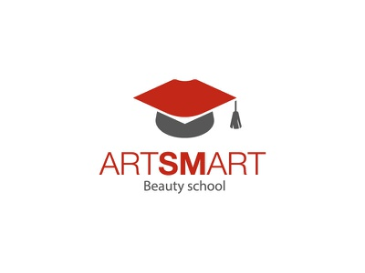 Artsmart hat university lips beauty school beauty logo leotroyanski branding vector design flat logo art