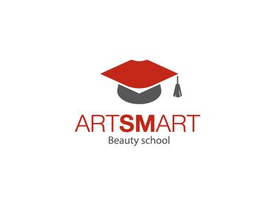 Artsmart hat university lips beauty school beauty logo leotroyanski branding vector design flat logo art