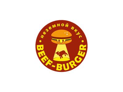 Beef Burger food ufo fast food design leotroyanski flat vector logo burger beef
