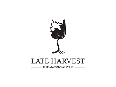 Late Harvest drink black logo restaurant leaf grape glass wine harvest design leotroyanski food vector logo flat