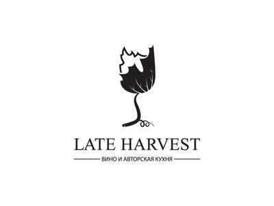 Late Harvest drink black logo restaurant leaf grape glass wine harvest design leotroyanski food vector logo flat