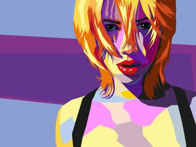 Scarlett Johansson girl actress art illustration design leotroyanski scarlett johansson portrait pop art face flat vector
