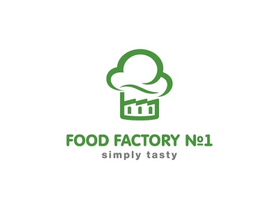 Food Factory hat restaurant cooking smoke cook design leotroyanski branding flat vector logo factory food