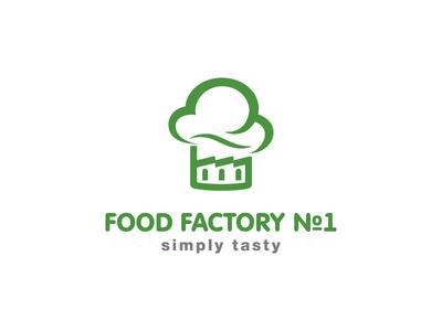Food Factory hat restaurant cooking smoke cook design leotroyanski branding flat vector logo factory food