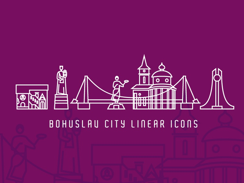 Bohuslav City Linear Icons travel tourism bridge church temple statue monument sights city leotroyanski vector logo corporate identity linear style liner icon illustration branding flat bohuslav