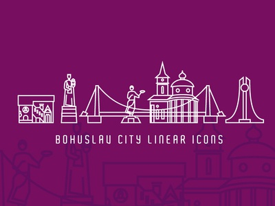 Bohuslav City Linear Icons travel tourism bridge church temple statue monument sights city leotroyanski vector logo corporate identity linear style liner icon illustration branding flat bohuslav