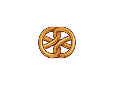 Double pretzel logo design icon bakery cook art leotroyanski food branding vector logo design pretzel