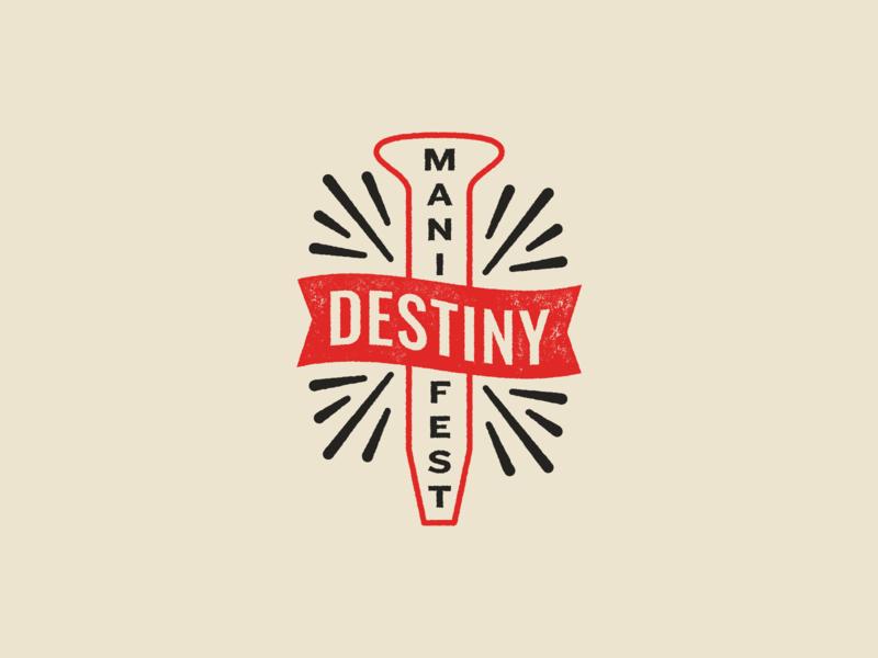 Manifest Destiny typography icon illustration vector logo design branding stamp badge manifest destiny train railroad spike nail