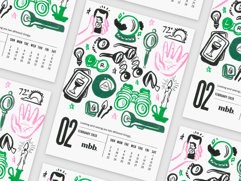2020 Vision Calendar - February kansas city risoprint risograph riso branding illustration design flashlight candle fortune selfie tarot vision glasses calendar