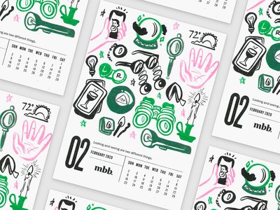 2020 Vision Calendar - February kansas city risoprint risograph riso branding illustration design flashlight candle fortune selfie tarot vision glasses calendar