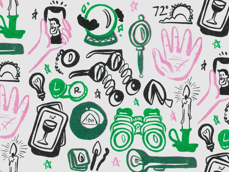 Vision Illustrations kansas city risoprint risograph riso calendar glasses vision tarot selfie fortune candle flashlight design illustration branding