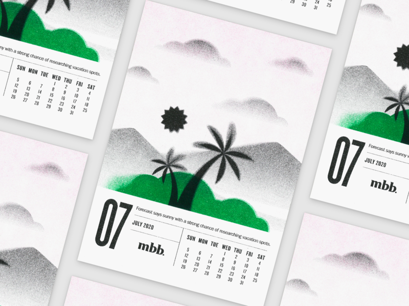 2020 Vision Calendar - Mirage kansas city print design risograph summer july calendar gradient illustration desert riso mirage