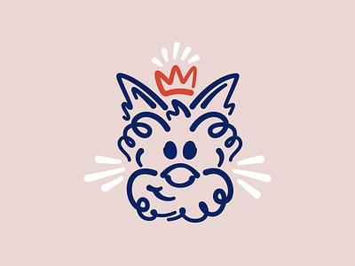 Winnie The Scot logo scotty doggo simple icon vector design loose line art illustration crown dog scottish terrier