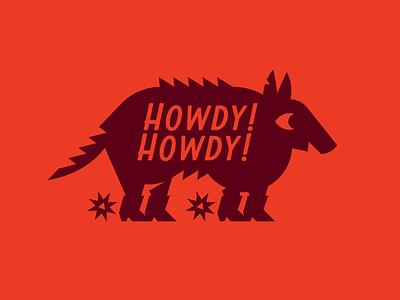 Howdy Armadillo texas type badge logo vector illustration design branding icon animal western yeehaw howdy armadillo