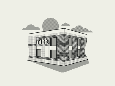 The New Building newspaper icon badge logo vector design branding kansas city vintage hatching etching illustration halftone building