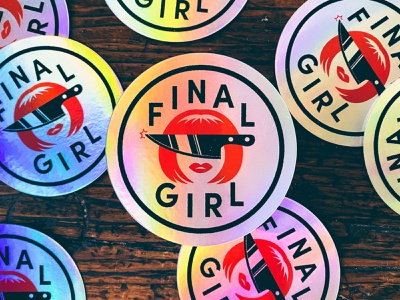 Final Girl Holo Stickers holographic badge scream scary horror knife stickers holo final girl