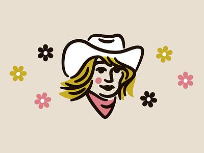 dime store cowgirl badge logo vector illustration design branding yeehaw agenda bandana daisies flower retro 70s cowgirl western yeehaw