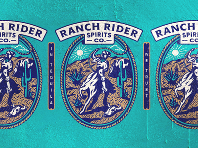 Ranch Rider Illustration sticker type ranch rider texas austin lasso logo vector illustration yeehaw badge packaging ranch western rodeo cowgirl