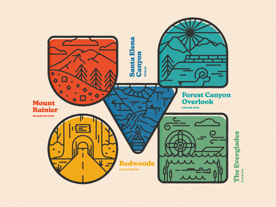 Natural Wonders of the U.S. badge design illustration logo vector nature canyon everglades redwoods florida california texas stickers badges branding national park