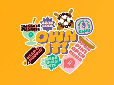 Halo Top Stickers affirmations positivity ice cream halo top sticker design illustration typography badge logo vector branding