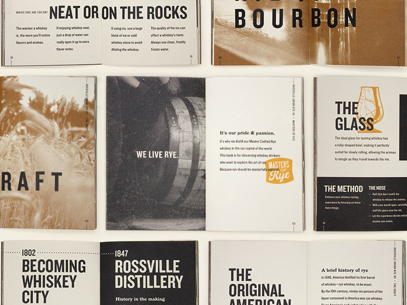 Rye 101 Inside print layout branding book rye whiskey badge gold kansas city design