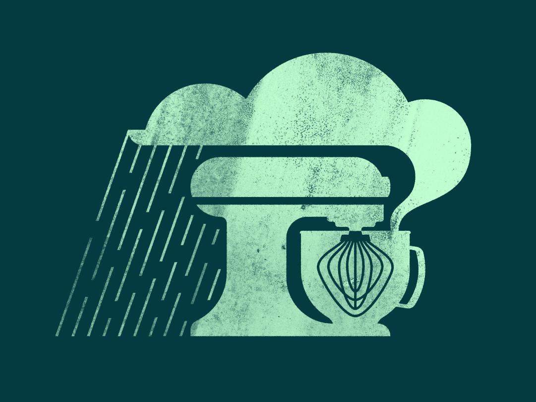 Baking Up A Storm kansas city logo grunge vector kitchenaid baking storm rain whisk mixer illustration branding
