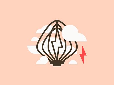 Whisking Up A Storm lightning frosting clouds storm baking whisk vector logo illustration design branding