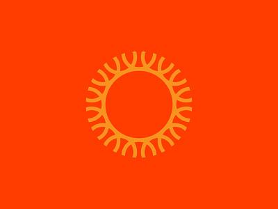 Shine warm shine monoline circle smile sun mark logo branding