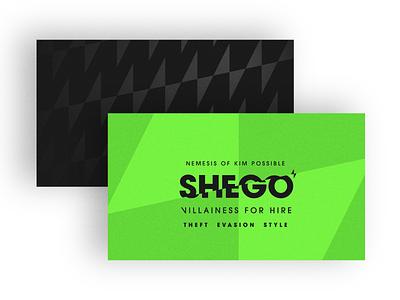 Shego - Warmup #2 shego kim possible villain disney business card print vector badge logo design branding dribbbleweeklywarmup