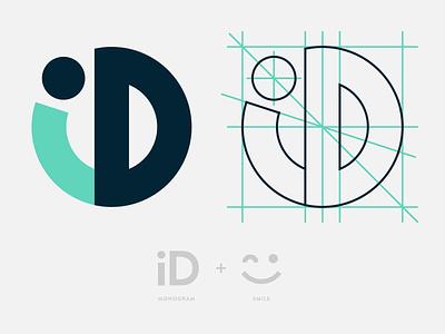 Monogram Smile smile vector badge monogram logo grid branding design logo monogram