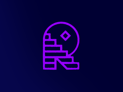 R You Going Somewhere? - Warmup #5 illustration vector typography logo branding moon stars temple stairs type r dribbbleweeklywarmup